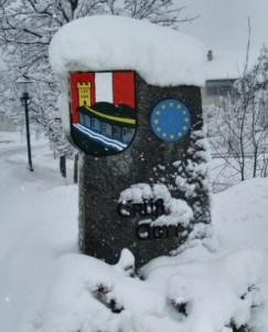 Wappen v. Gramastetten - Ortseinfahrt