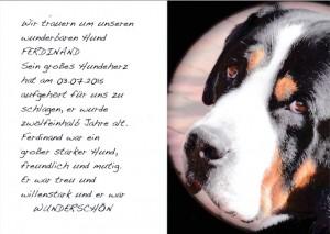 Anzeige zum Tod des Hundes