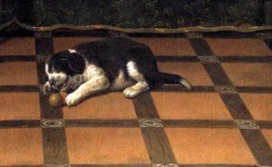"""Ausschnitt aus dem Gemälde """"Stilllebenpaar mit Hund und ballspielenden Welpen"""""""